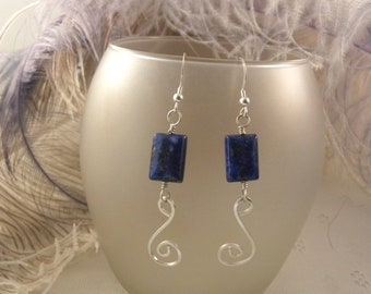 Lapis Lazuli and Sterling Silver Spiral Earrings