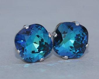 Swarovski Bermuda Blue Cushion Rhinestone Stud,Swarovski Stud Earrings,Blue Green,Rounded Square Post,Silver,Gold,Bridesmaids,Weddings