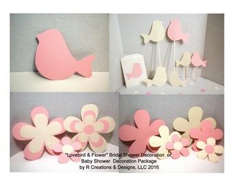Bridal Shower Lovebird & Flower Package-Bridal Shower, Baby Shower, Shower Decoration Package,Wedding Shower,Lovebirds, Flowers, Gift Bags