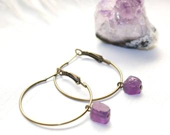 Raw Crystal Hoop Earrings, Amethyst Hoops, Amethyst Earrings, Raw Crystal Earrings, Raw Amethyst Earrings, Minimalist Hoop Earrings