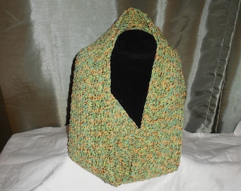 Hand Crocheted Long Cowl, Shades of Green & Gold