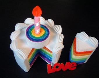 play food-DIY felt rainbow cake(double tiers)---PDF Pattern-F30