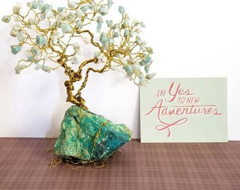 Amazonite Gem Tree, Chrysocolla Rock Base, Gold Wire Tree, Teal Home Decor, Wire Tree Sculpture, Gift for Her, Wife Gift, Gift Ideas