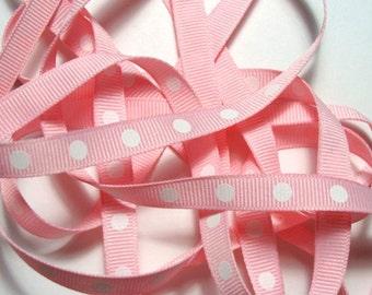 "3/8"" Dotted Grosgrain Ribbon - Light Pink - 5 yds"
