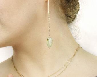 Threader Earrings Gold Threader Earrings Prehenite Threader Earrings Silver Prehenite Earrings Gemstone Threader Earrings Valentine's gift