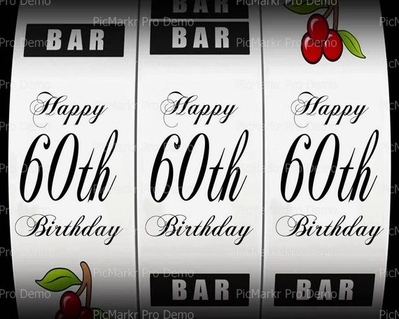 60th Birthday Casino Slot Machine - Edible Cake and Cupcake Topper For Birthday's and Parties! - D21870