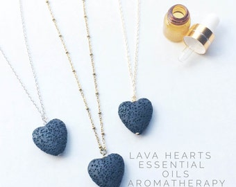 LAVA Rock diffuser jewelry for essential oils - lava heart necklace / aromatherapy jewelry-reserved for Edie