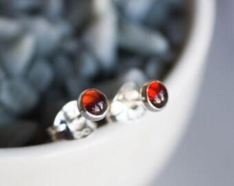 Almadine (red) Garnet stud earrings, minimalist dainty studs, January birthstone, sterling silver, 14k gold filled