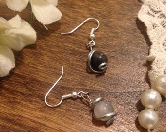 Crystal Ball Silver Wire Wrapped Earrings