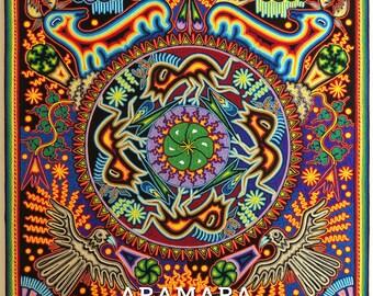 "23.5"" Huichol painting, Mexican folk art, Native art, Mexican wall art, Huichol art, Mexican decor, Mexican painting, Mexican art, 60-114"