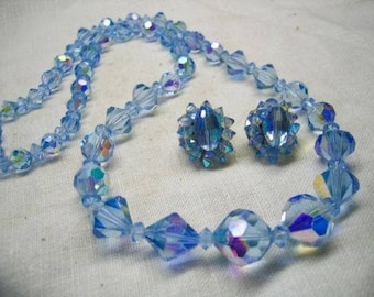Vintage Baby Blue AB Cut Crystal Necklace & Earrings