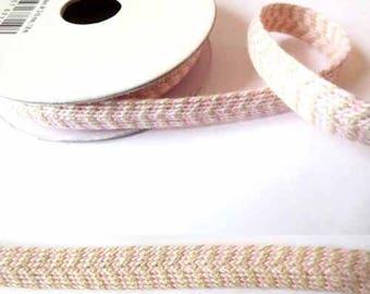 1.8 m x Ribbon cotton fancy 8mm pink linen