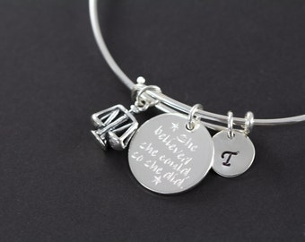 Lawyer Judge Attorney, Law School Graduation Gift Personalized Bangle Bracelet 925 Sterling Silver