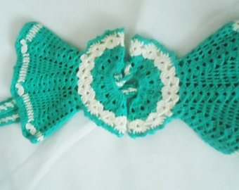 Vintage Crocheted Hot Pads, Pot Holders, Crocheted Dress Pot Holders,Kitchen Decor, Home Decor,Perfect gift for Her