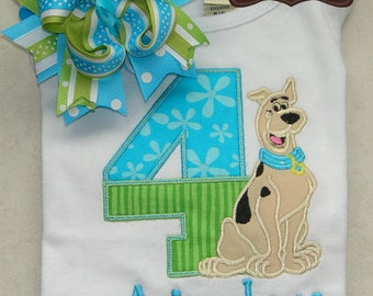 Scooby Doo Inspired Birthday Applique Shirt and Matching Hairbow - Meddling Kids - Birthday - Choose Numbers 1-9