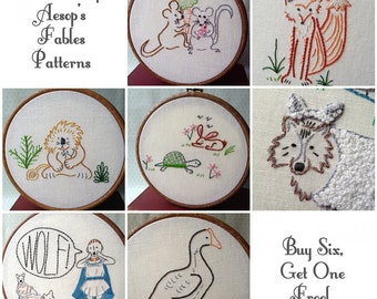 Complete Aesop Set - 7 PDF Embroidery Patterns - Aesop's Fables - Includes Color and Stitch Guide