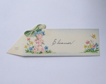 Vintage Gibson place card flower pixie with leaf umbrella perfect for little girl baby shower ephemera