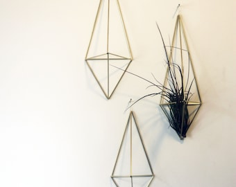 Himmeli Plant Hangers with Air Plant - Set of 3 - Himmeli Planter - Geometric Plant Holder - Air Plant Holder - Gold Himmeli Wall Planter