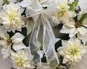 White Winter wreath - white Christmas wreath - poinsettia wreath - lighted Christmas wreath - front door winter wreath - white Holiday decor