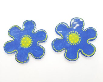 Ceramic mosaic tiles 2 large blue daisy flowers handmade handpainted kiln fired