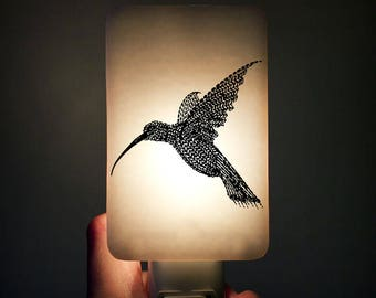 Hummingbird Nightlight Black on White Fused Glass Night Light - Gift for Baby Shower or Nature Lover by Happy Owl Glass - summer bird