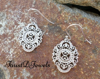Free shipping Sterling Silver Bali Dangle Earrings