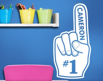 Custom Name Wall Decal Art - Sports Foam Finger, Kids Playroom ideas, Baby Nursery, Boys Teens, Bedroom, Man Cave, Sports Decor Decal