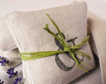 Handmade Natural Linen Lavender Sachet Stamped with Grapic - Set of 3 Sachets