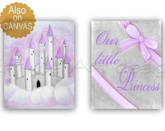 Girl Nursery Decor, Purple, Princess Wall Art, Castle, Baby Girl Nursery, Nursery room Prints, Girls room Decor, Kids Art, Princess Nursery