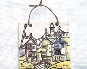 Beach Huts Tile - Ceramic Tile - Pottery Tile - Seaside - Beach Huts