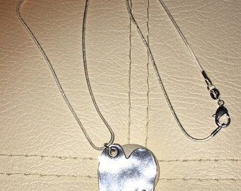 Gorgeous Sterling Silver Hammered Heart Necklace