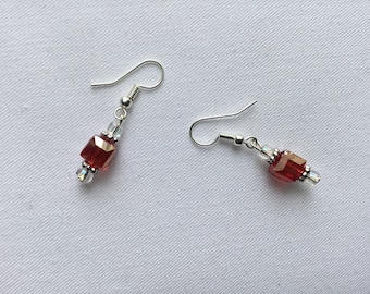 Shiny red glass cube bead earrings