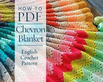 Crochet Pattern, Four Seasons Chevron Blanket  pattern - ready for immediate download - by CrochetObjet