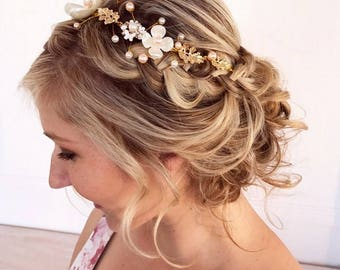 Flower Vine Headband, Wedding Headband, Bridal Headband, Headband For Bride, Bridal Headpiece, Wedding Hair Accessories, Bridal Hair Vine