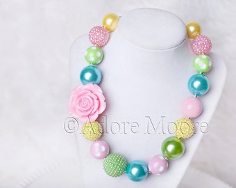 Spring Rose, M2M Sweet Honey Lovebird Bubble, Kids Chunky Necklace, Spring Chunky Necklace