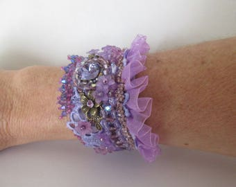 """Purple Crocus"" ruffle bracelet with cabochon square swarovski crystal and Czech flower beads"