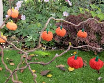 Halloween decoration. SALE. Crochet pumpkins. Orange. . Thanksgiving. Set of three pumpkins - 3 different oranges. 3 sizes. Amigurumi.