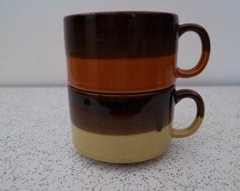 pair of 1970s vintage ceramic soup mugs