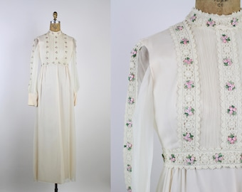Floral Wedding Gown / 1960s Wedding Dress / Lace 60s Wedding Dress / 60s Boho Wedding Dress / Size XXS