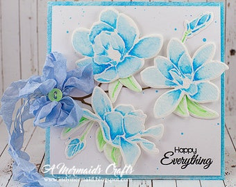 Watercolor Flowers Happy Everything Birthday / Just Because Greeting Card