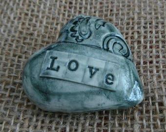 Handmade ceramic rustic  keepsake heart/ornament/gift. Blue heart. Token of Love friendship gift.
