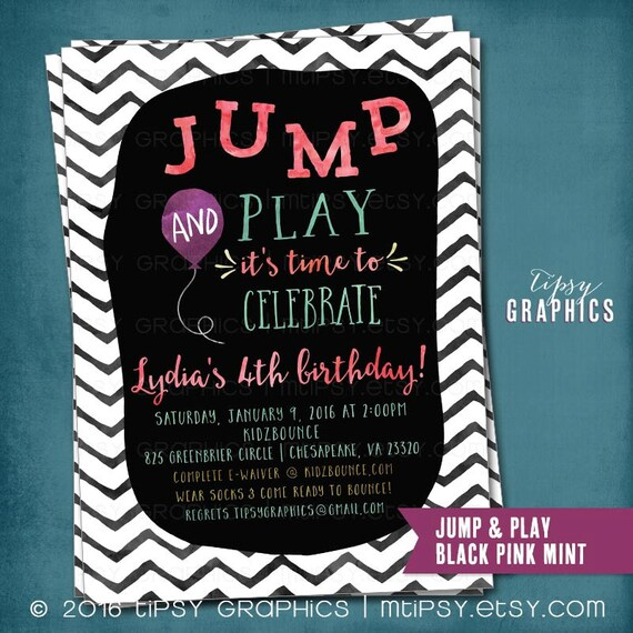 Trampoline Party Invitations: Items Similar To Trampoline Bounce House Birthday Party