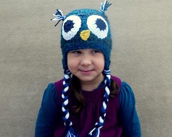Owl Hat in Peacock - Woodland Bird, Winter Hat Forest Bird Hat,  Aviator, Easy Halloween Costume, Warm Winter Hat