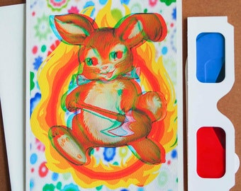 3D Anaglyph Cute Bunny with AXE 5x7 Blank Card