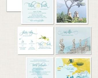 Destination wedding invitation Ravello Amalfi Coast Italy Wedding Invitation bilingual Illustrated watercolor drawing Deposit Payment