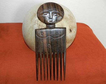 African wooden comb doll sculpture figurine man luxury African art black and Brown ebony wood