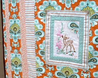 Courtepointe moderne, broderie vintage, Bohème, cerf, couverture, décor de crèche, orange Amy Butler, aqua,