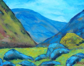 Original Oil Painting California Artist Fine Art Landscape Mountains Blue Mountain Rocks Honeystreasures Original Artwork Handmade Art USA