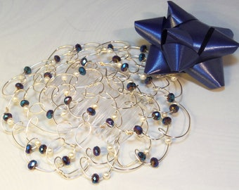 Wire Beaded Kippah - Bat Mitzvah - Womens Kippot - Jewish Gift - Blue Metal - Gift for Her