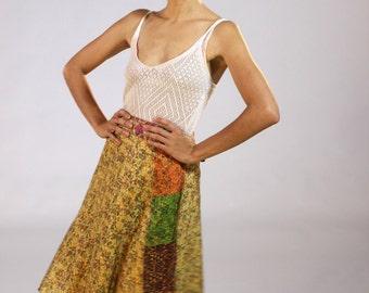 Vintage SILK wrap skirt - Golden  - Floral Print - India